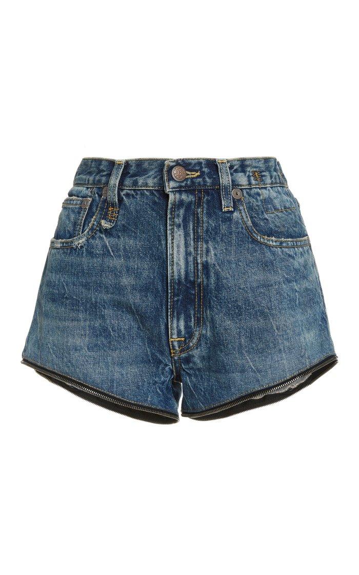 Axl Leather-Inset High-Rise Slim-Leg Jeans