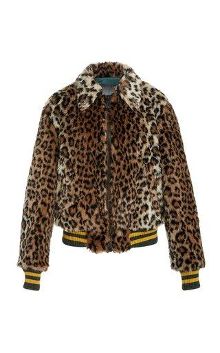 Leopard-Print Faux Fur Bomber Jacket