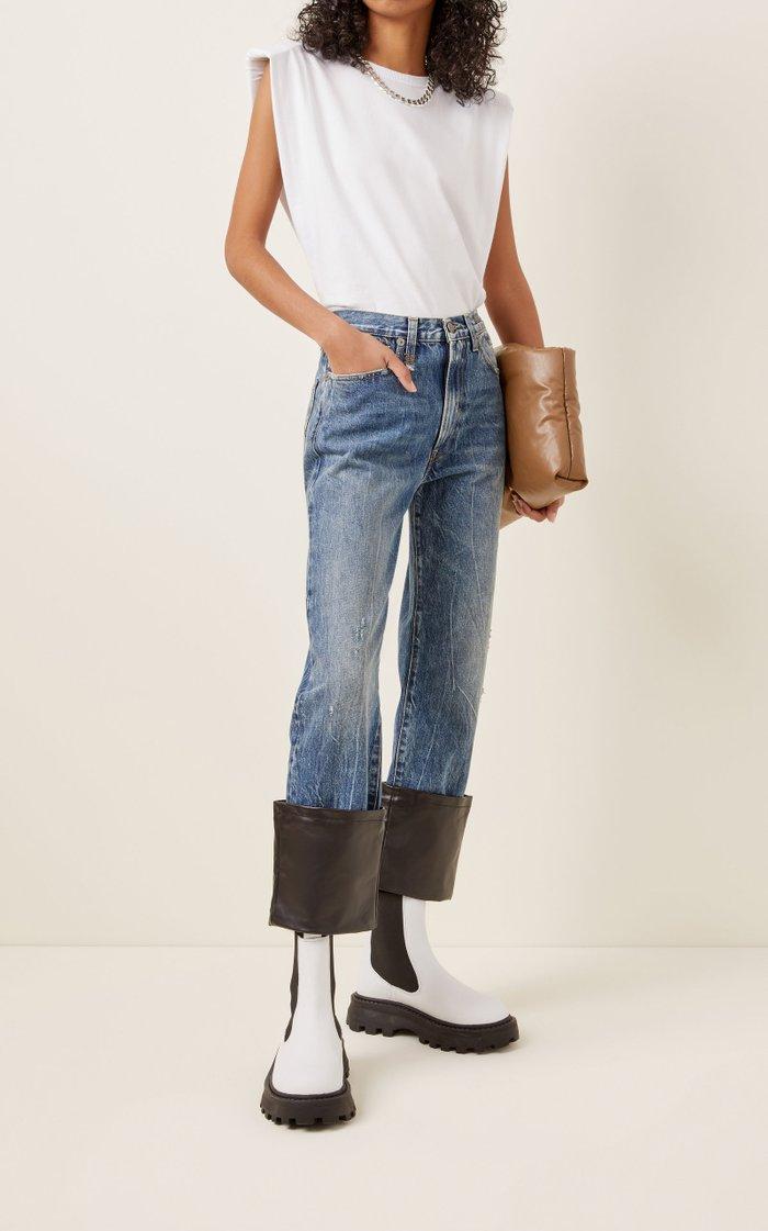 Axl Leather-Cuff High-Rise Straight-Leg Jeans