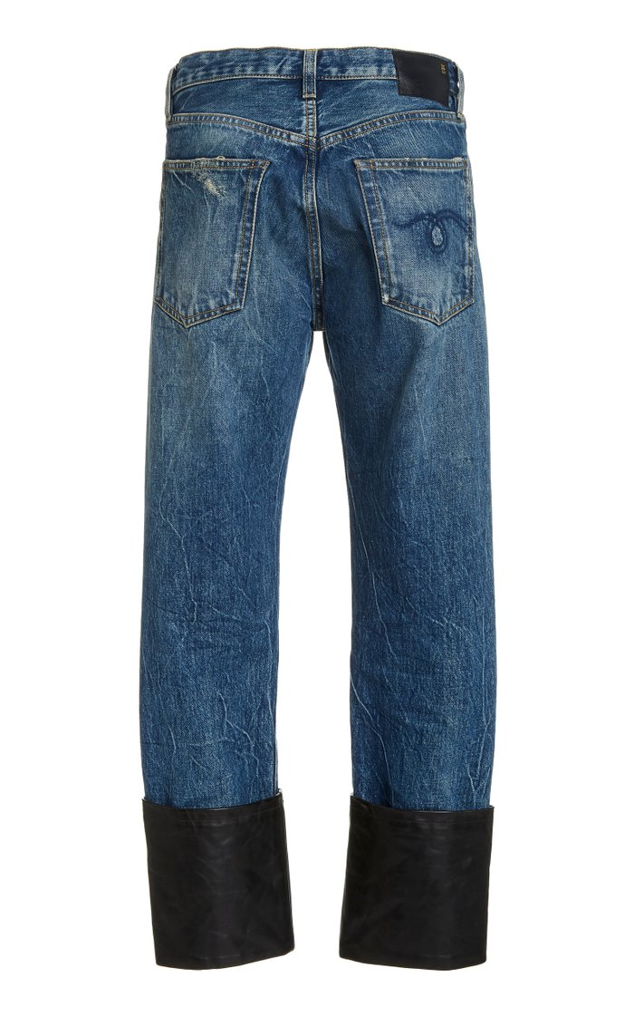 Axl Leather-Cuff High-Rise Slim-Leg Jeans