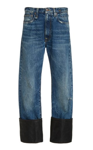 Axl Leather-Cuff High-Rise Straight-Leg Jeans