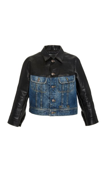 Siouxie Shrunken Leather And Denim Trucker Jacket