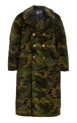 Oversized Camouflage Velvet Double-Breasted Military Coat