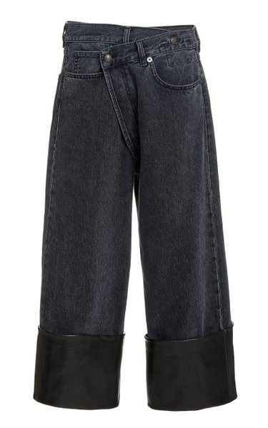 Crossover Leather-Cuff Wide-Leg Jeans