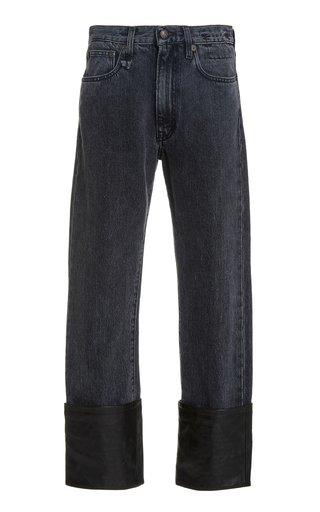 Axl Leather-Cuff Slim-Leg Jeans