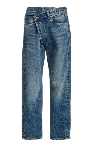 Crossover Distressed Low-Rise Wide-Leg Jeans