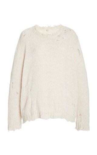 Oversized Distressed Chenille Sweater