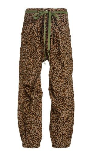 Leopard-Print Cotton Cargo Pants