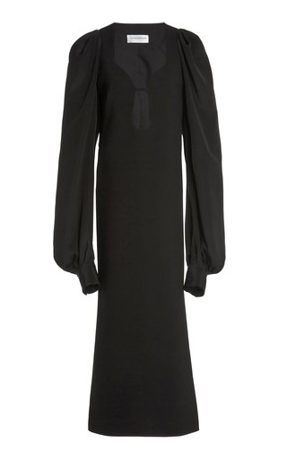 Puff-Sleeve Bonded Crepe Midi Dress