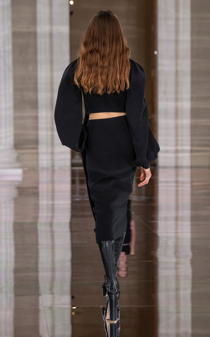 Puff-Sleeve Bonded Crepe Midi Dress