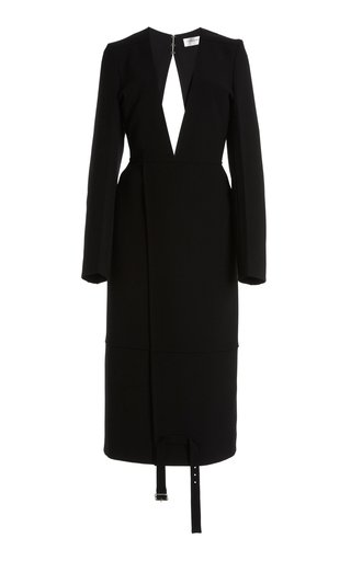 Double-Faced Wool Crepe Midi Dress