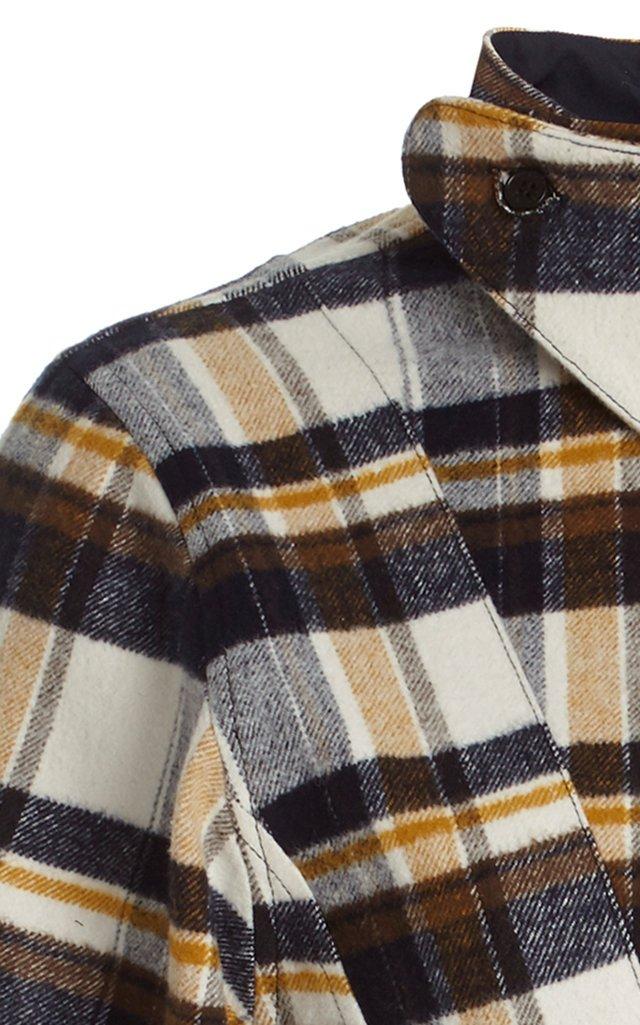 Reversed Plaid Cotton Flannel Shirt