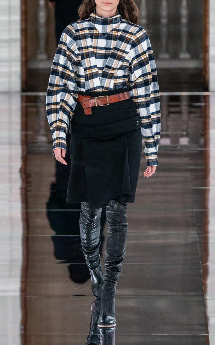 Pleated Wool Gabardine A-Line Midi Skirt