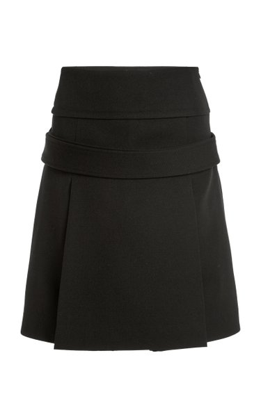 Pleated Wool Gabardine A-Line Midi Skirt