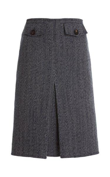 Pleated Double-Faced Herringbone Wool-Cotton Midi Skirt