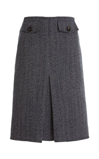 Pleated Double-Faced Herringbone Wool-Cotton Midi Skirt