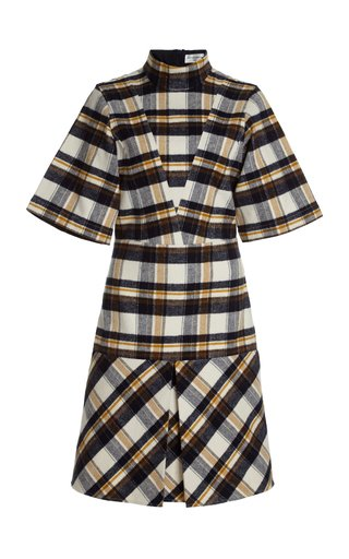 Reversed Plaid Cotton Flannel Shirt Dress