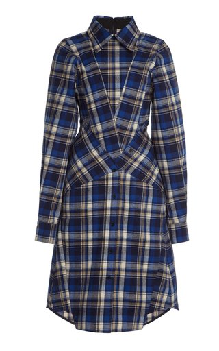 Tapered Plaid Cotton Flannel Shirt Dress