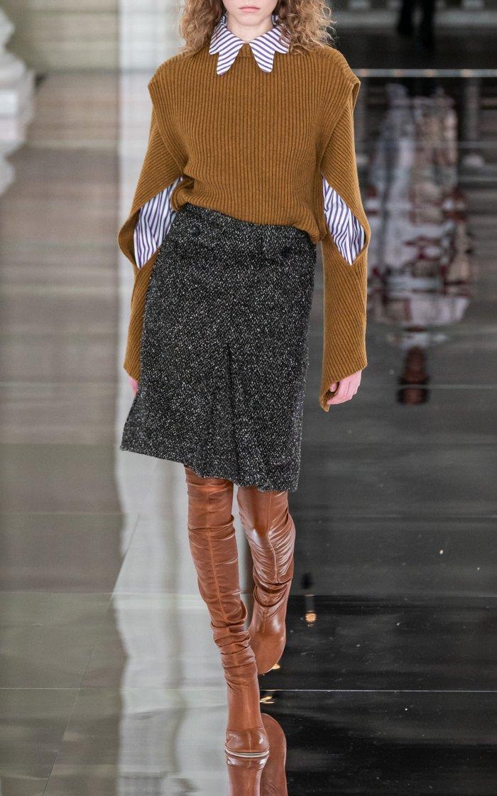 Pleated Herringbone Wool-Blend Midi Skirt