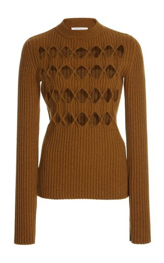 Argyle-Cutout Ribbed-Knit Wool-Blend Sweater