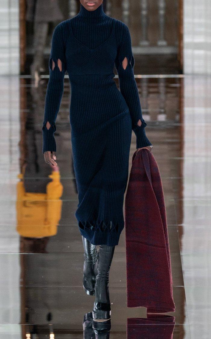 Argyle-Cutout Ribbed-Knit Mockneck Sweater Dress