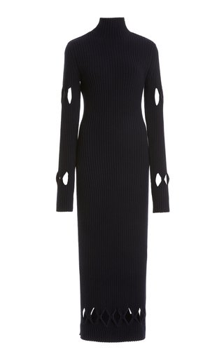 Argyle-Cutout Ribbed-Knit Mockneck Sweater Dress