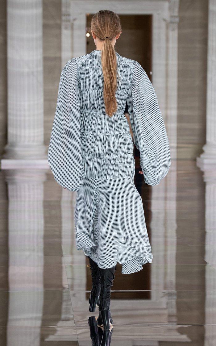 Smocked Seersucker Midi Dress