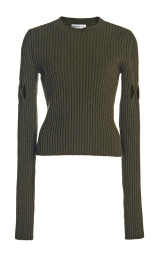 Argyle-Cutout Rib-Knit Wool-Blend Sweater