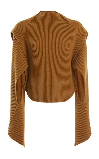 Cutout Ribbed-Knit Mockneck Wool-Blend Sweater
