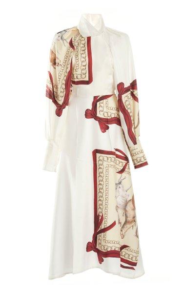 Printed Silk Draped-Sleeve Silk Shirt Dress