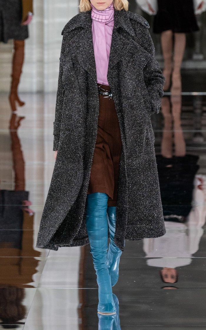 Herringbone Wool-Blend Cape Coat