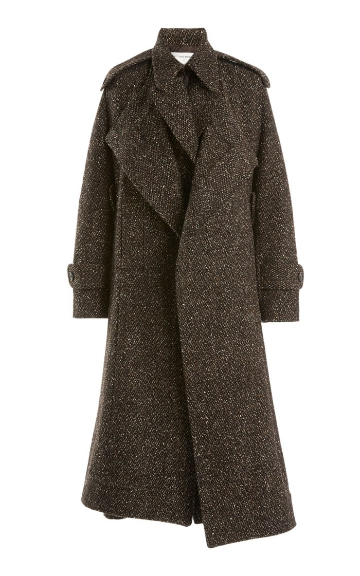 Herringbone Wool-Blend Cape Coat
