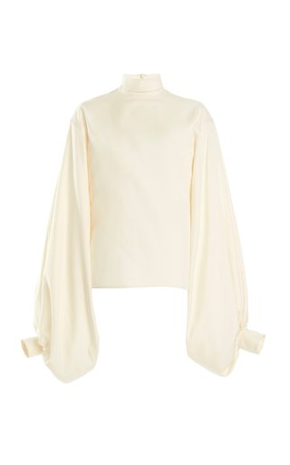 Balloon-Sleeve High-Neck Silk Top