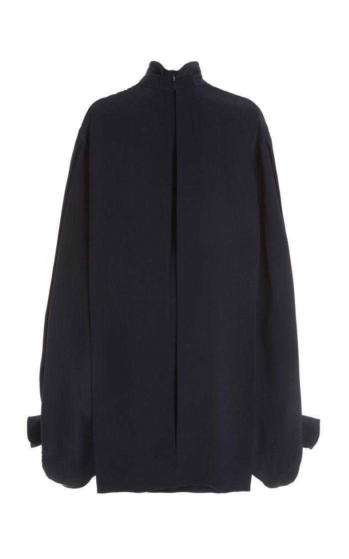 Balloon-Sleeve Double-Faced Crepe Mini Dress