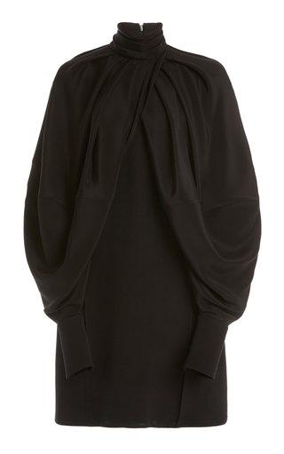 Cape-Sleeve Double-Faced Crepe Mini Dress