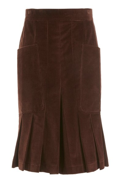 Pleated Cotton Corduroy Culottes
