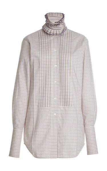 Removable-Collar Checked Cotton Shirt