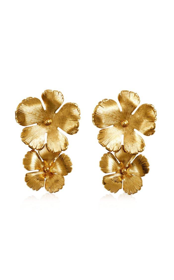Collette Floral Brass Drop Earrings
