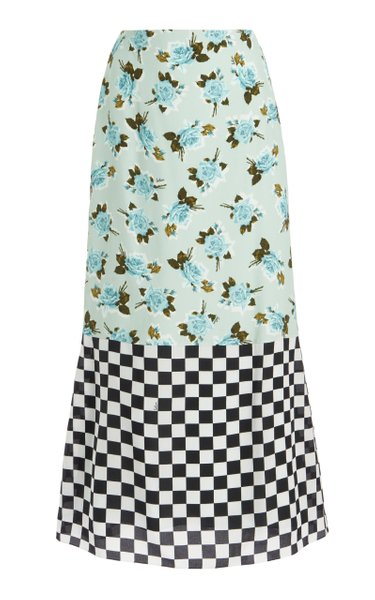 Vaughan Dual-Print Crepe Skirt