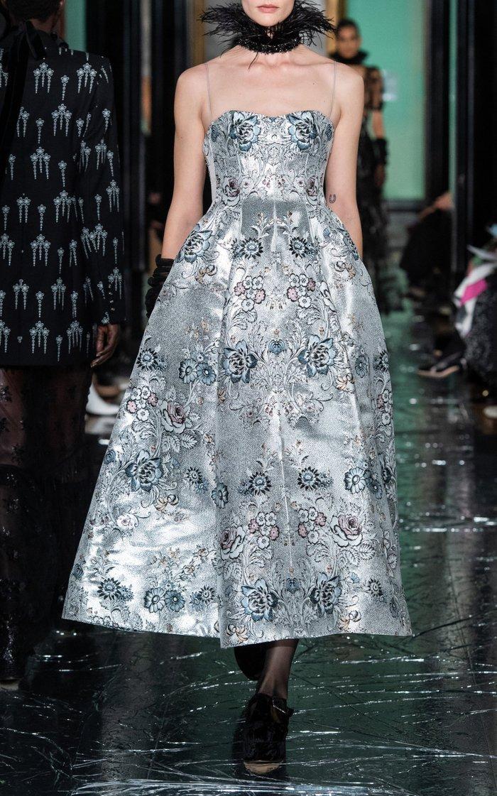 Adalyn Metallic Satin Brocade Midi Dress