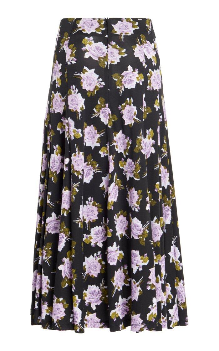 Vesper Floral Crepe Midi Skirt