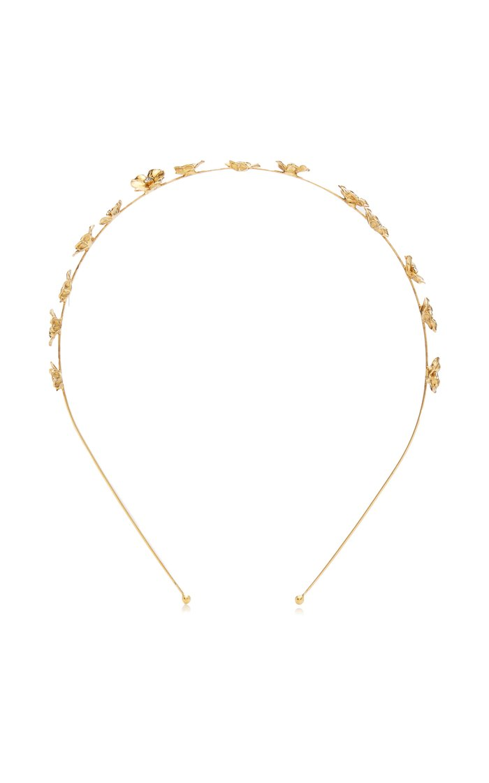 Maye Crystal-Embellished Floral Brass Headband