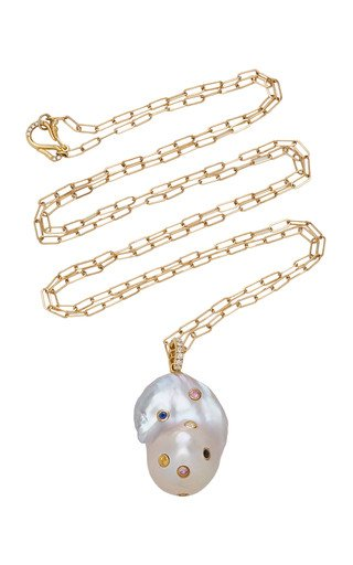 Specialorder-18K Yellow Gold Rainbow Bezel Pearl Necklace-AME