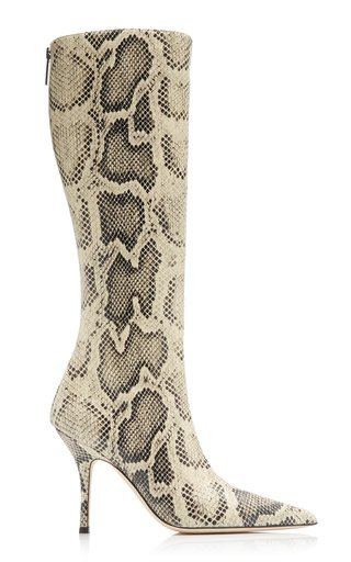 Mama Python-Print Leather Knee Boots