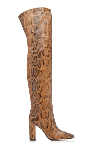 Python-Print Leather Over-The-Knee Boots