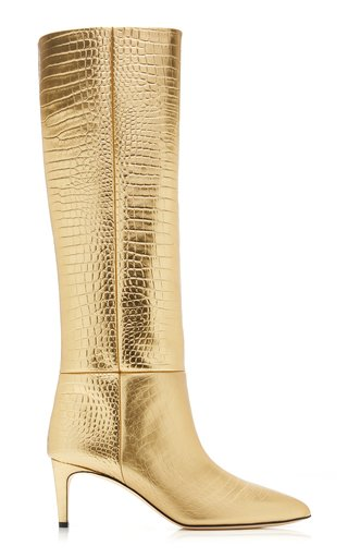 Croc-Effect Metallic Leather Tall Boots