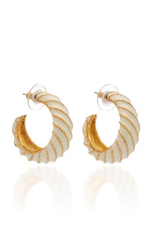 Brass and Enamel Scroll Hoop Earrings