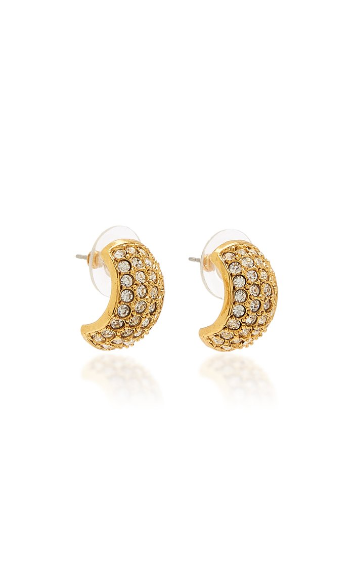 Liesel Brass and Swarovski Crystal Huggies