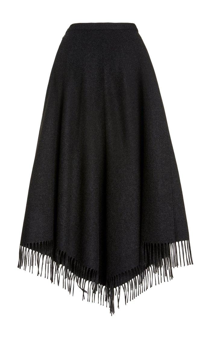Fringed Wool Fringe Blanket Skirt