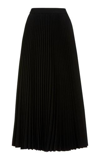 Pleated Wool-Serge Flared Skirt